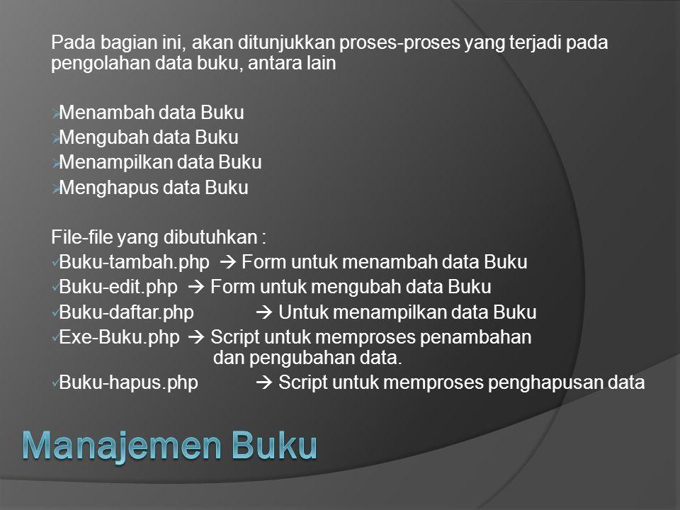 Pada bagian ini, akan ditunjukkan proses-proses yang terjadi pada pengolahan data buku, antara lain