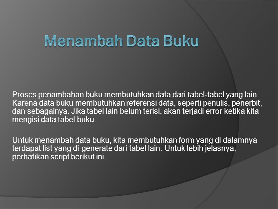 Menambah Data Buku