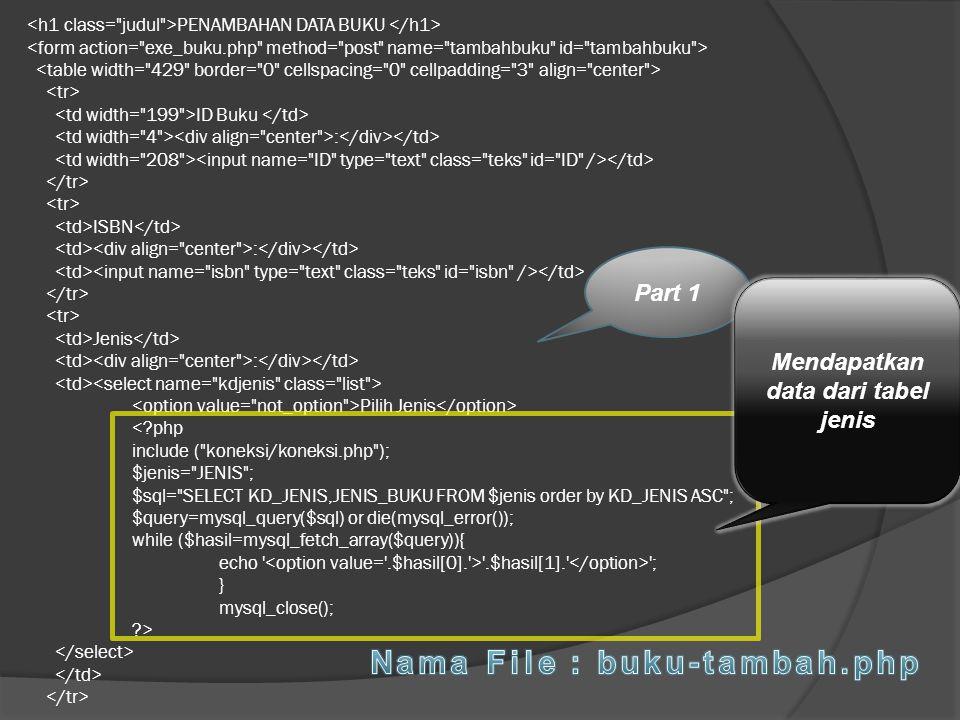 Mendapatkan data dari tabel jenis Nama File : buku-tambah.php