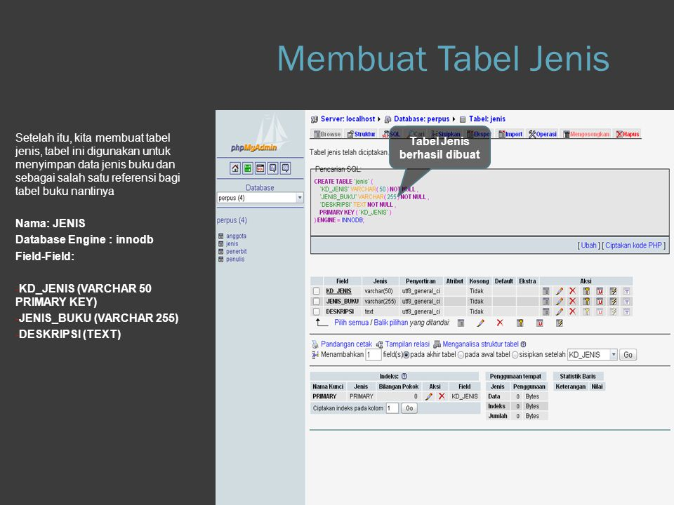 Membuat Tabel Jenis Step 1.e Database
