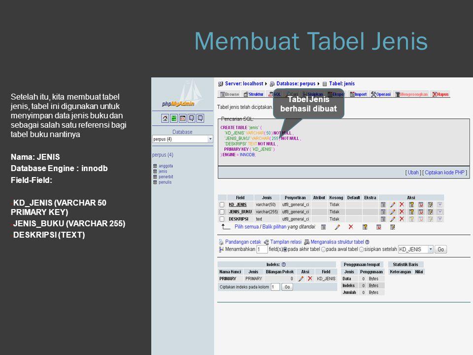 Membuat Tabel Jenis Step 1.e Database