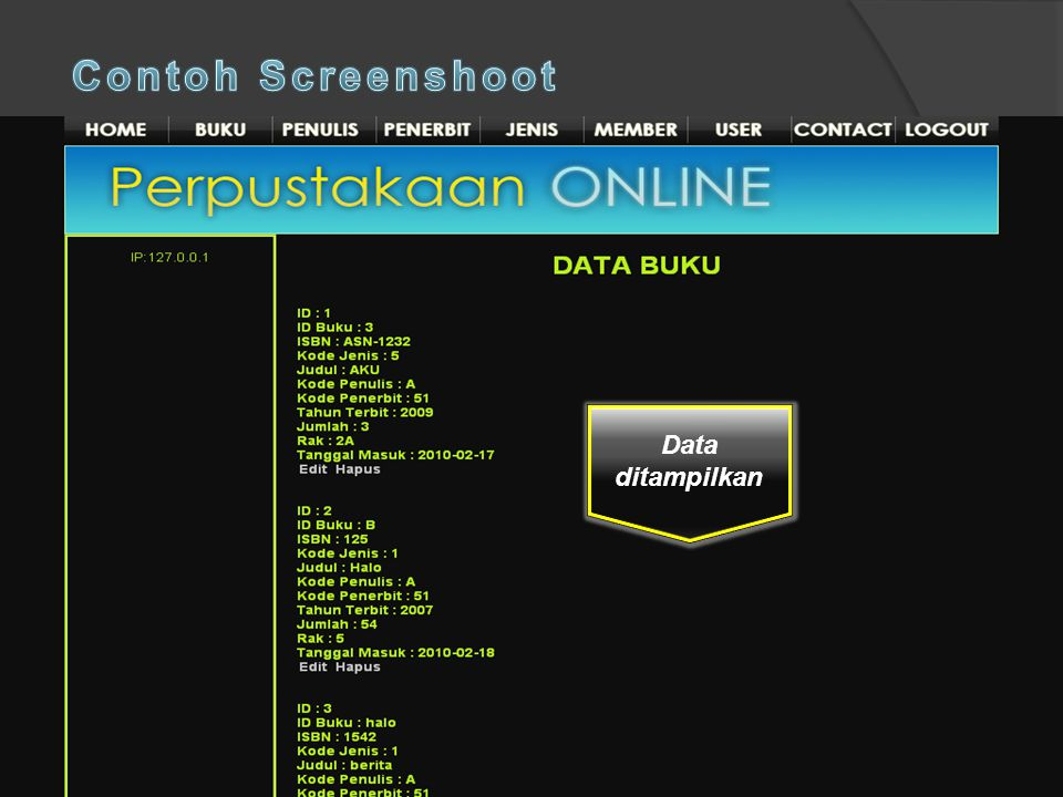 Contoh Screenshoot Data ditampilkan