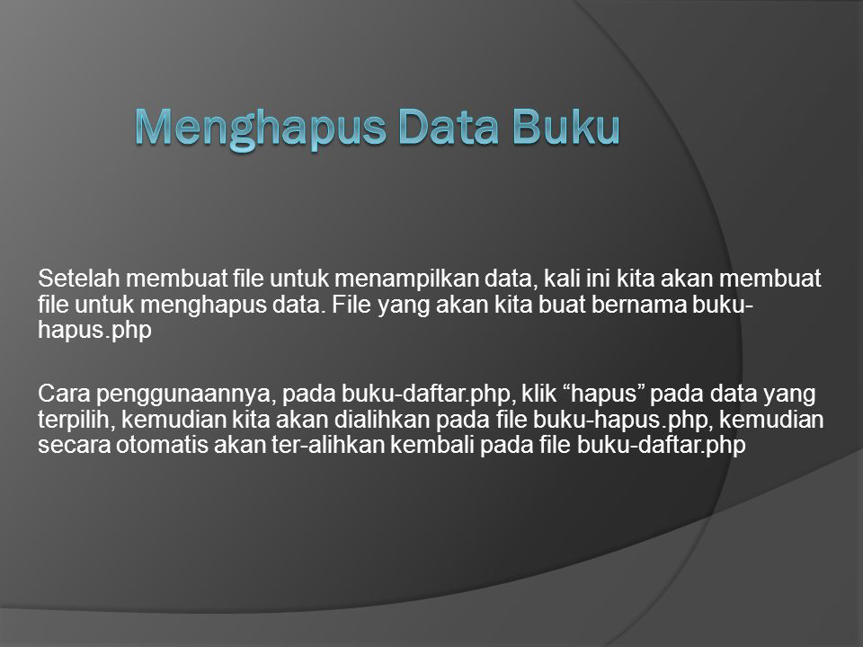 Menghapus Data Buku