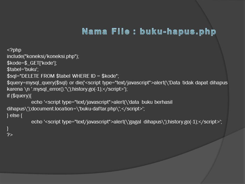 Nama File : buku-hapus.php