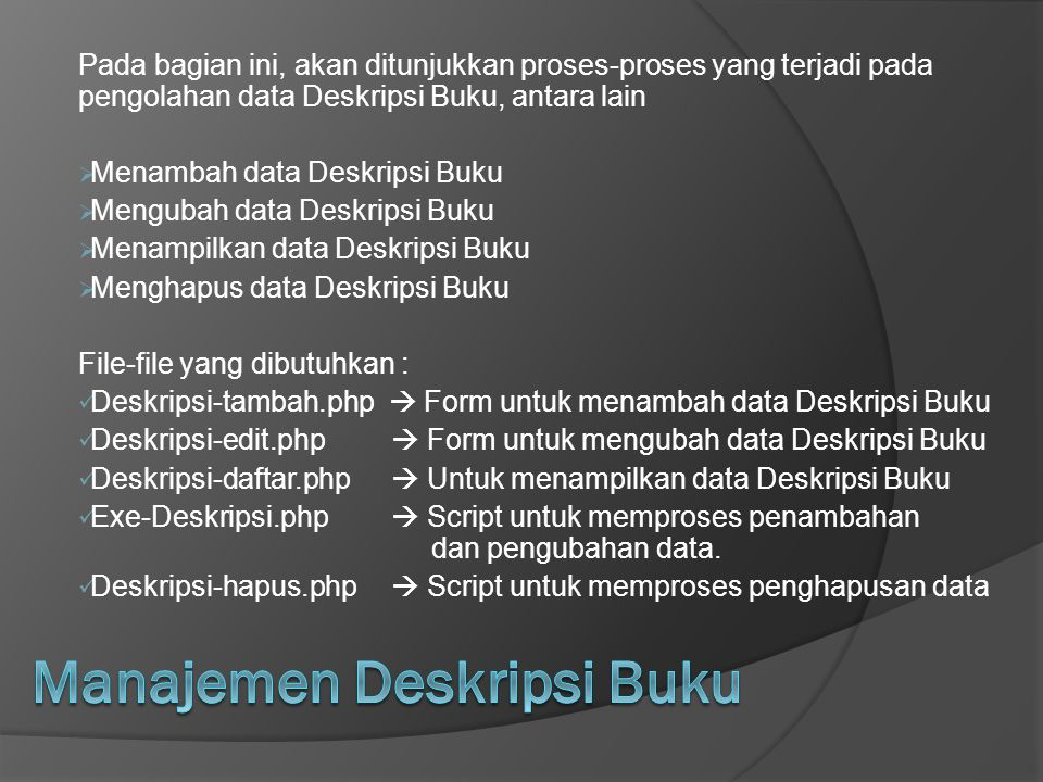 Manajemen Deskripsi Buku