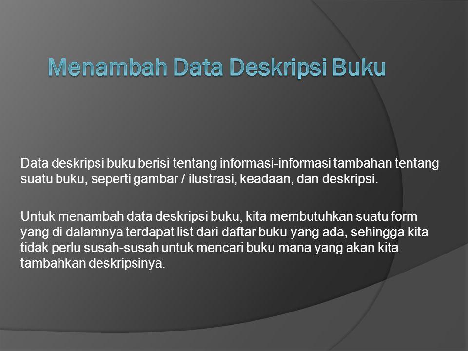 Menambah Data Deskripsi Buku