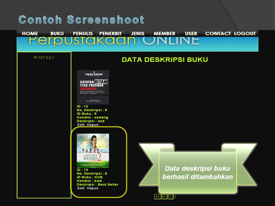 Contoh Screenshoot Klik Tambah