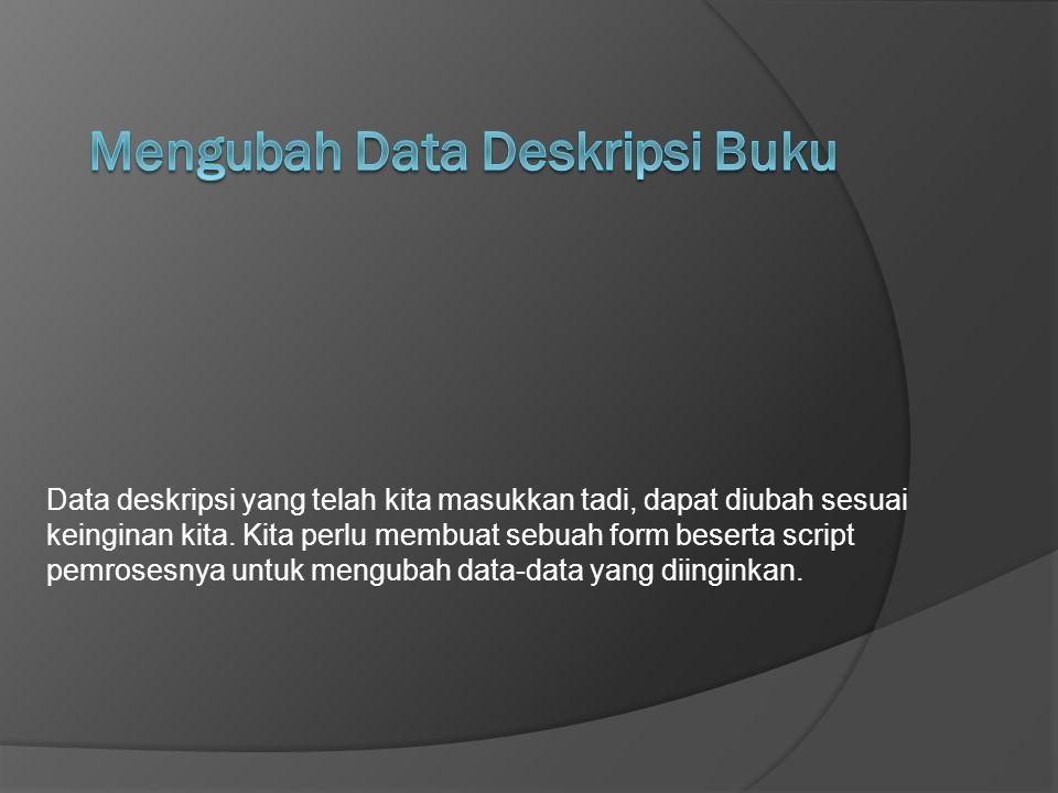 Mengubah Data Deskripsi Buku
