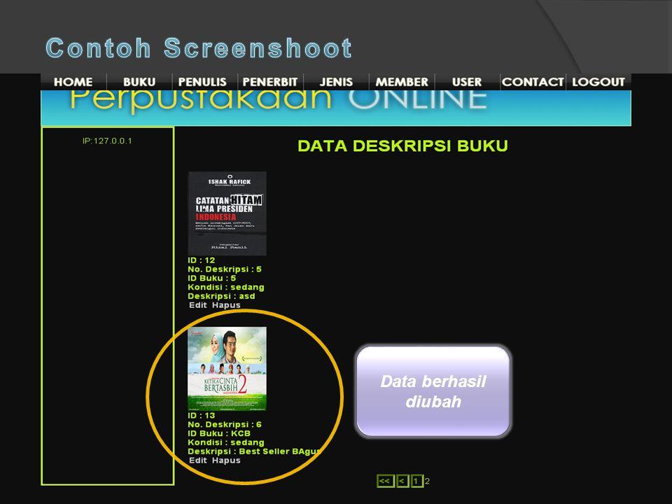 Isikan data-data yang baru Pilih data yang akan diedit