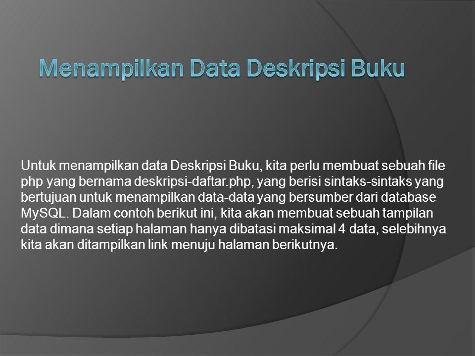 Menampilkan Data Deskripsi Buku