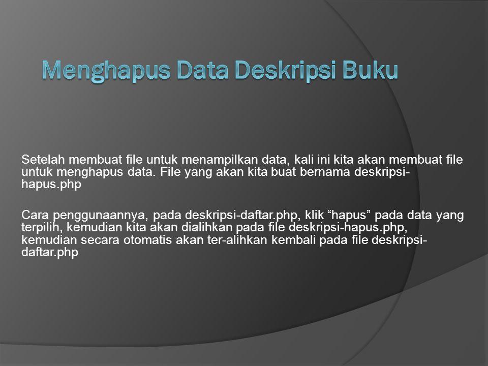 Menghapus Data Deskripsi Buku