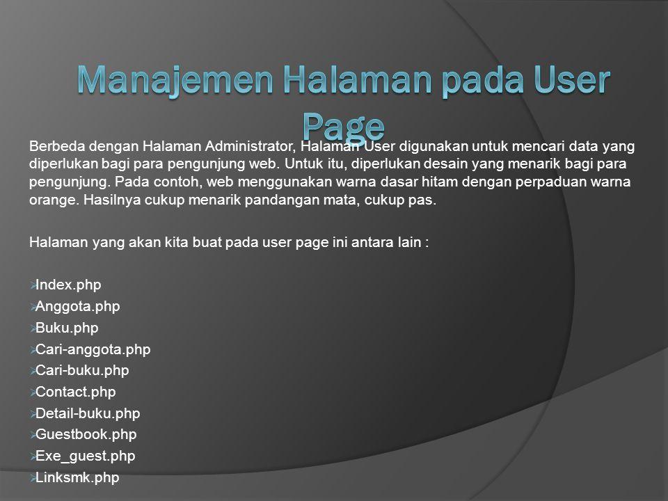 Manajemen Halaman pada User Page