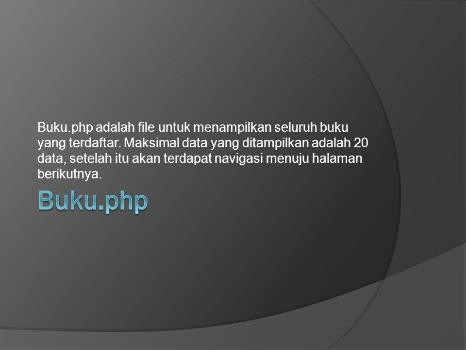 Buku. php adalah file untuk menampilkan seluruh buku yang terdaftar