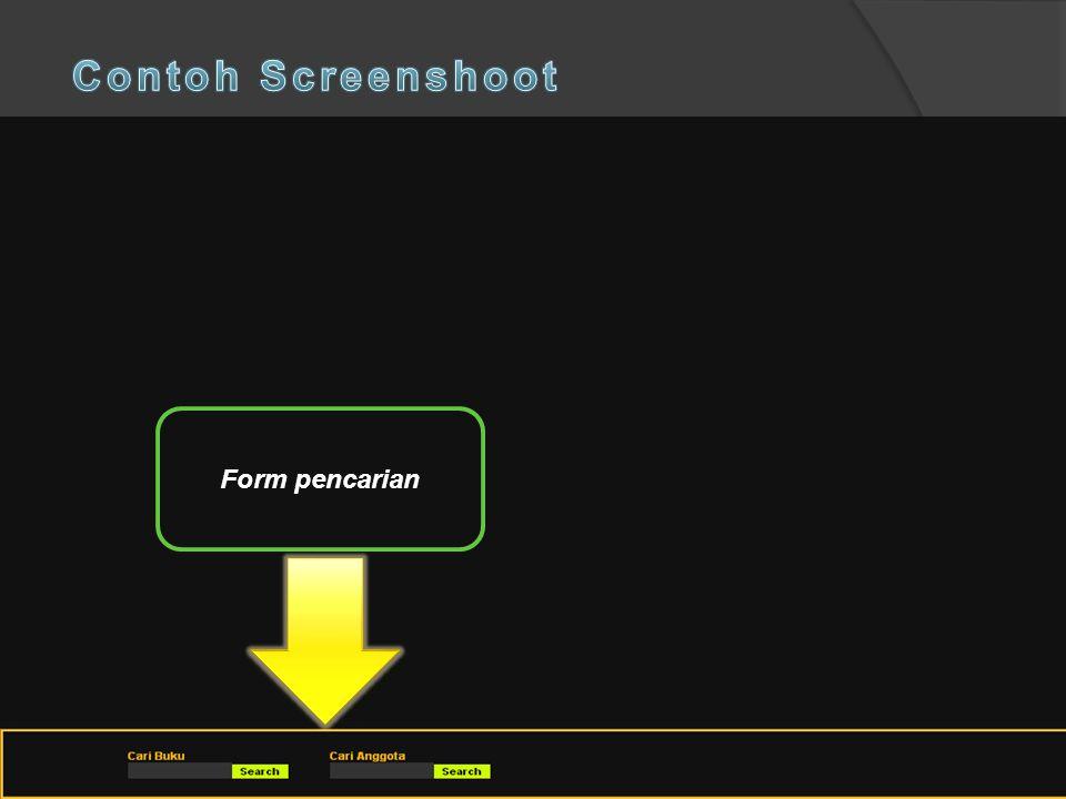 Contoh Screenshoot Form pencarian