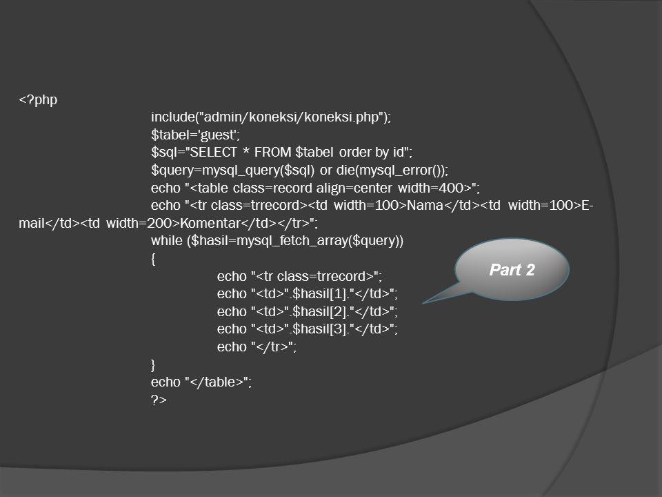 <. php. include( admin/koneksi/koneksi. php );. $tabel= guest ;
