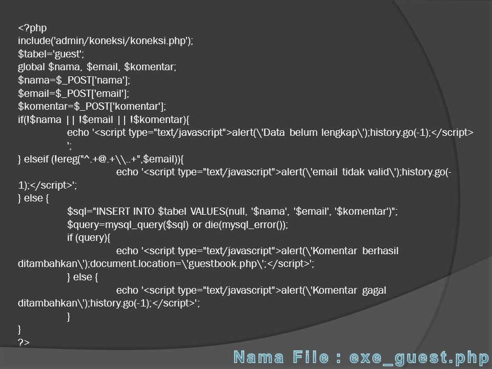 Nama File : exe_guest.php