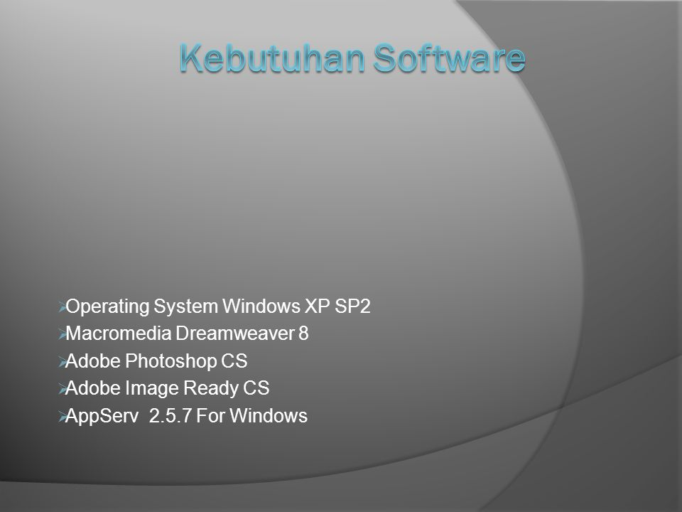 Kebutuhan Software Operating System Windows XP SP2