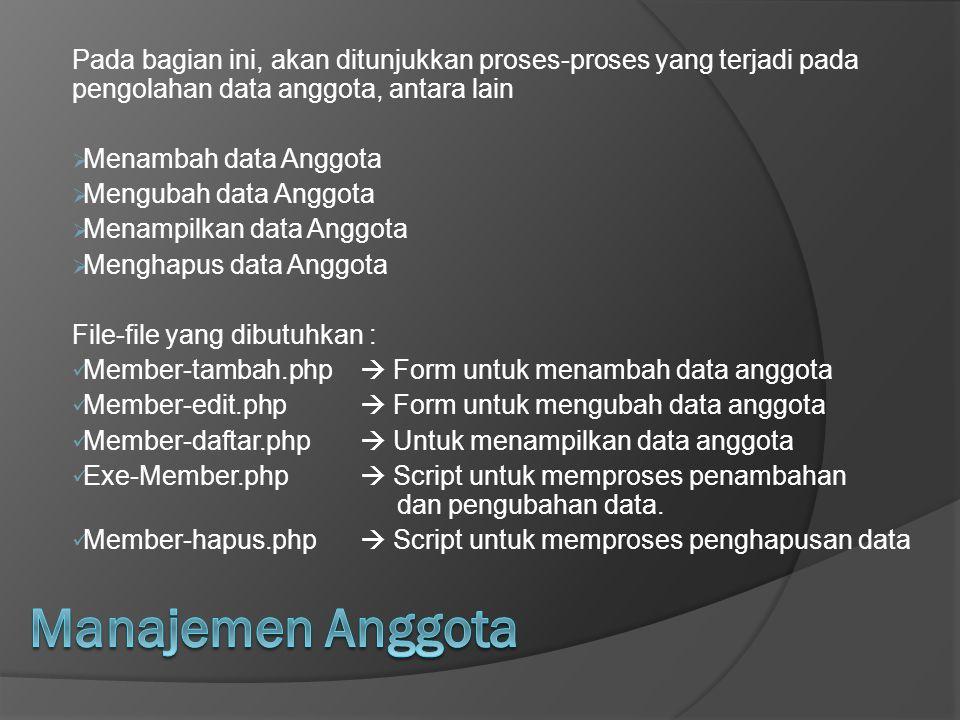 Pada bagian ini, akan ditunjukkan proses-proses yang terjadi pada pengolahan data anggota, antara lain