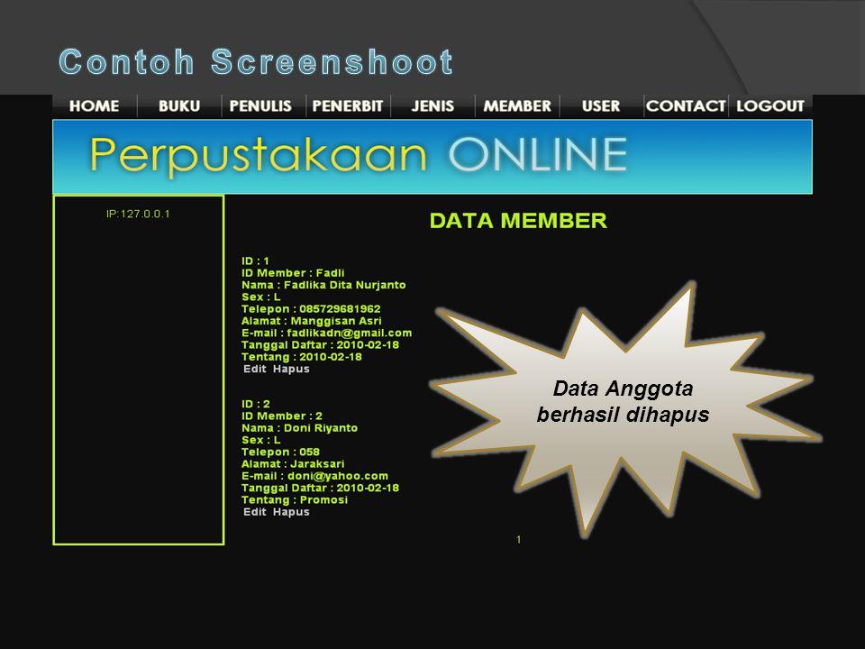 Data Anggota berhasil dihapus Pilih data yang akan dihapus