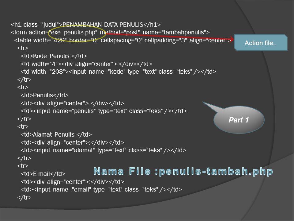 Nama File :penulis-tambah.php