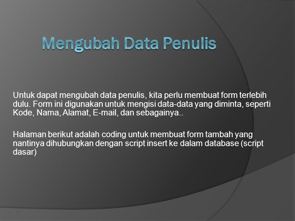 Mengubah Data Penulis