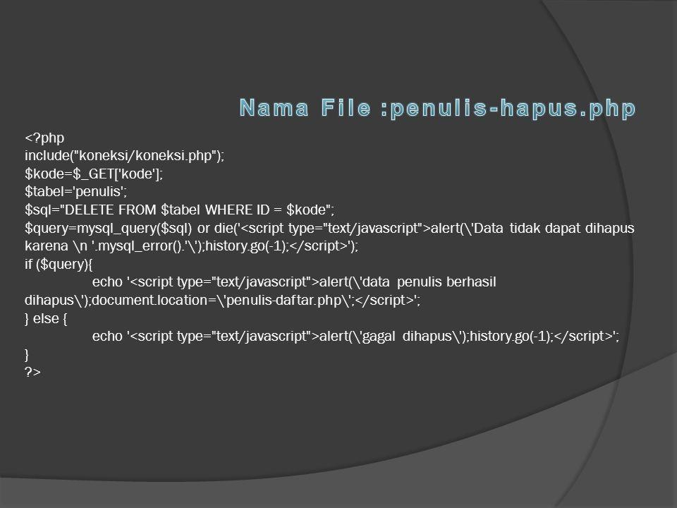 Nama File :penulis-hapus.php