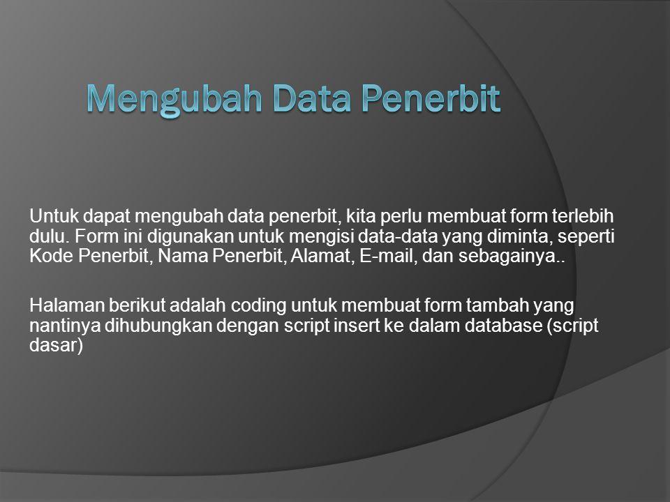 Mengubah Data Penerbit