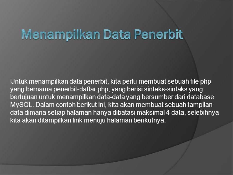 Menampilkan Data Penerbit
