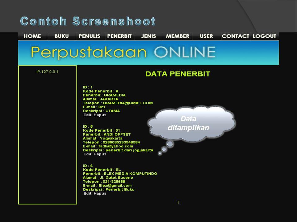 Contoh Screenshoot Data ditampilkan