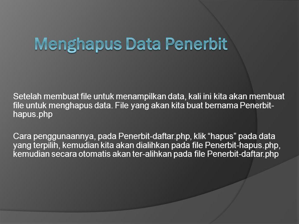 Menghapus Data Penerbit