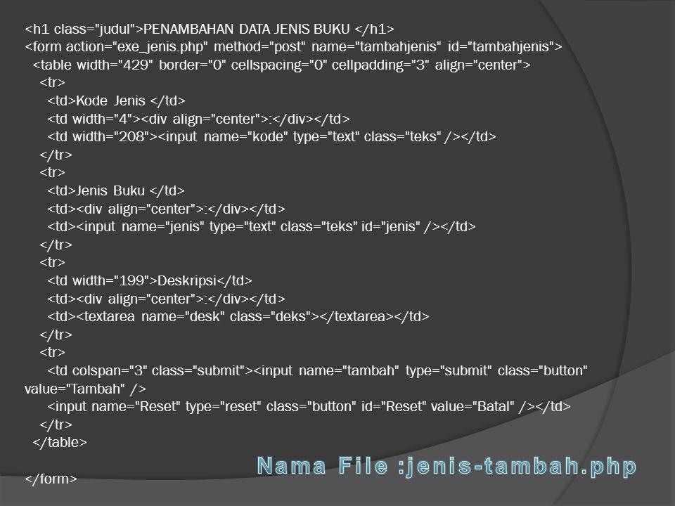 Nama File :jenis-tambah.php