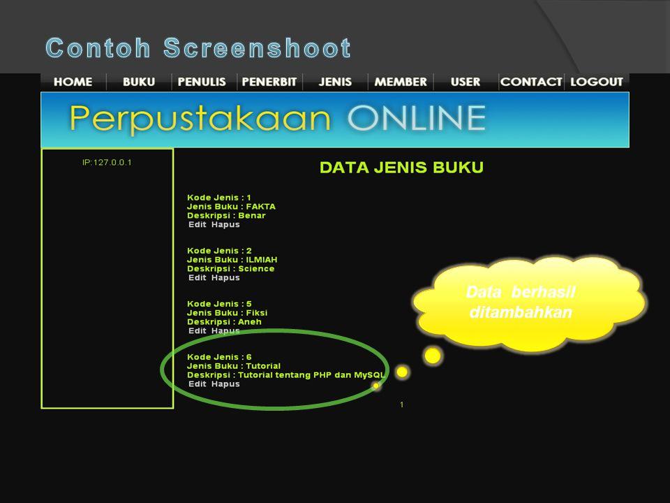 Contoh Screenshoot Data berhasil ditambahkan Klik tambah