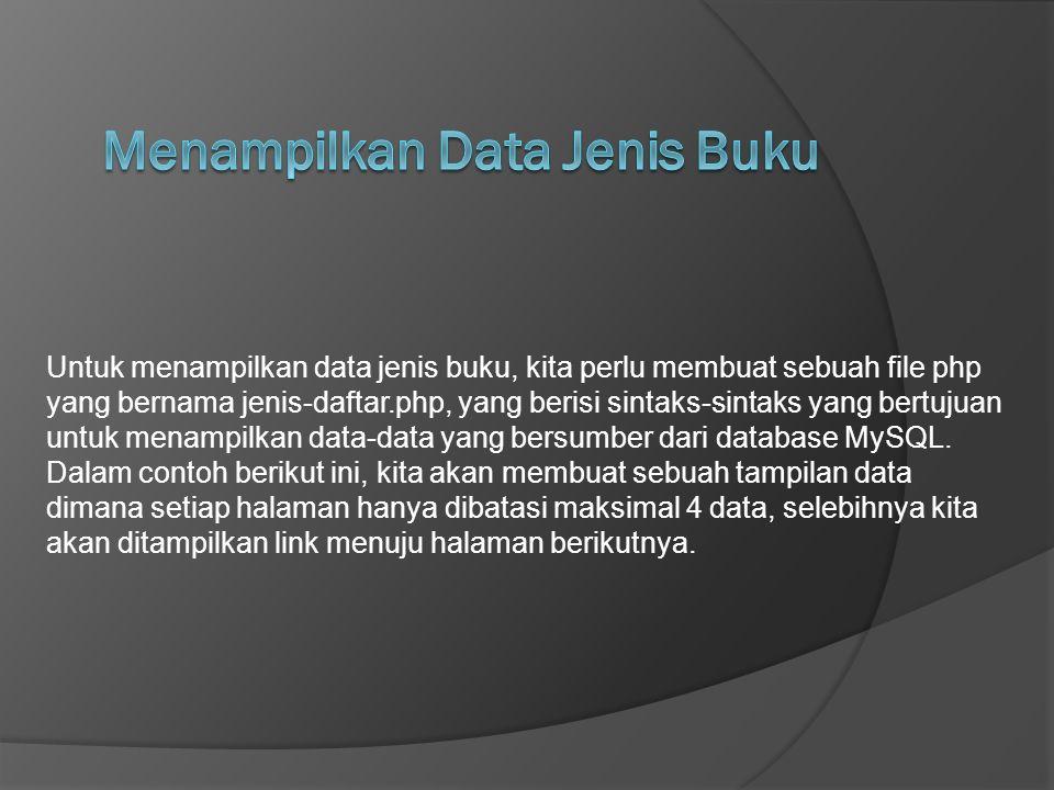 Menampilkan Data Jenis Buku