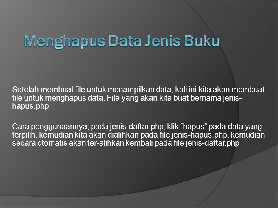 Menghapus Data Jenis Buku