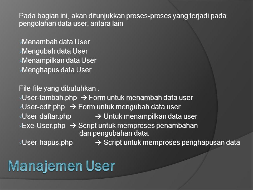Pada bagian ini, akan ditunjukkan proses-proses yang terjadi pada pengolahan data user, antara lain