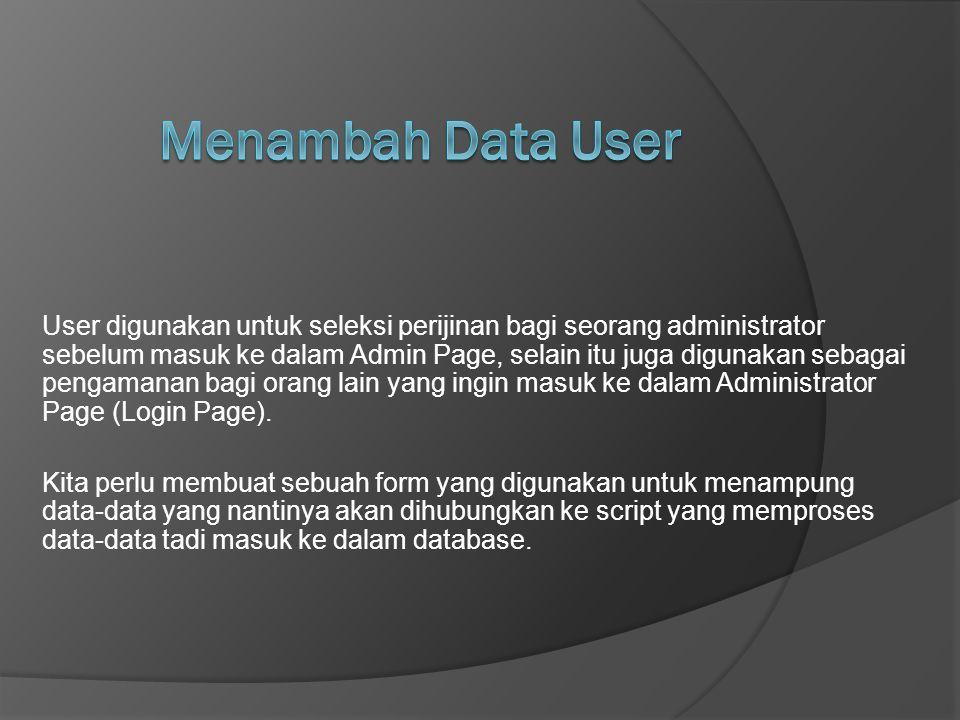 Menambah Data User