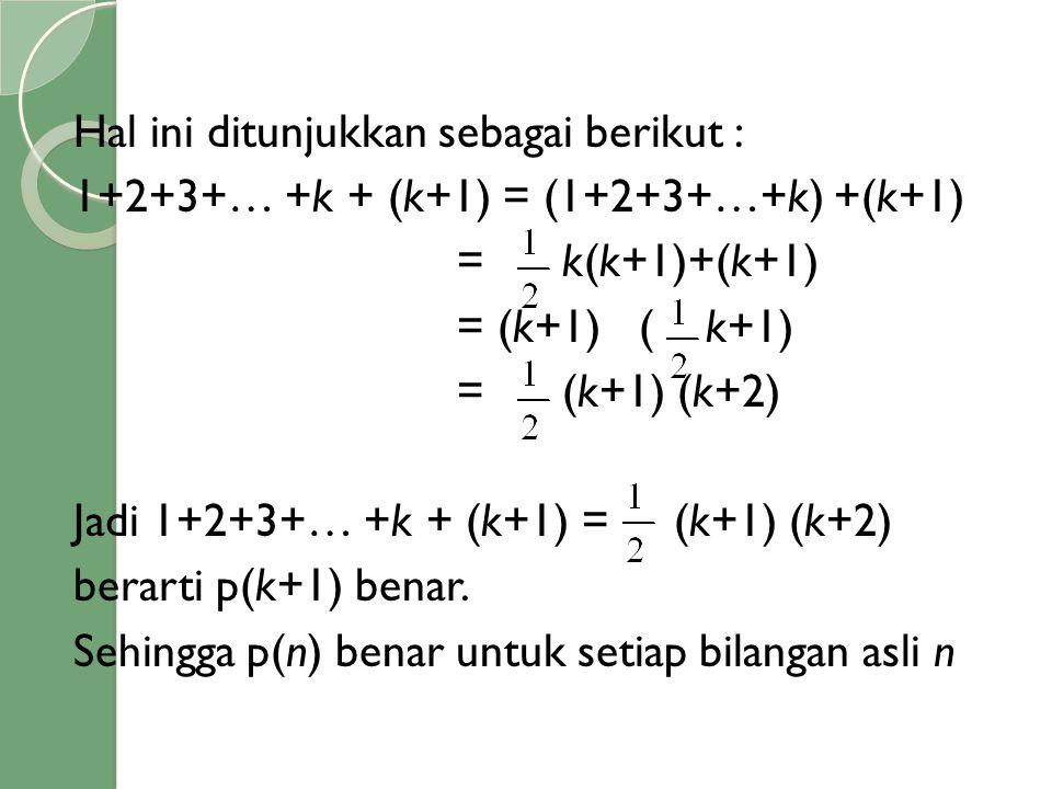 Hal ini ditunjukkan sebagai berikut : 1+2+3+… +k + (k+1) = (1+2+3+…+k) +(k+1) = k(k+1)+(k+1) = (k+1) ( k+1) = (k+1) (k+2) Jadi 1+2+3+… +k + (k+1) = (k+1) (k+2) berarti p(k+1) benar.