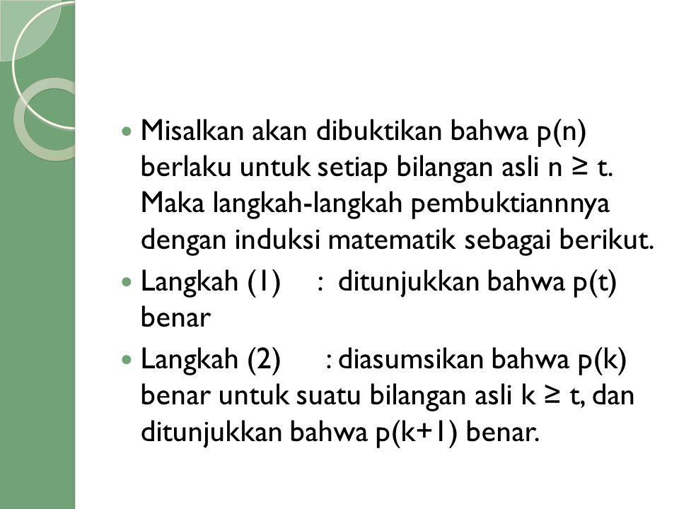 Misalkan akan dibuktikan bahwa p(n) berlaku untuk setiap bilangan asli n ≥ t. Maka langkah-langkah pembuktiannnya dengan induksi matematik sebagai berikut.