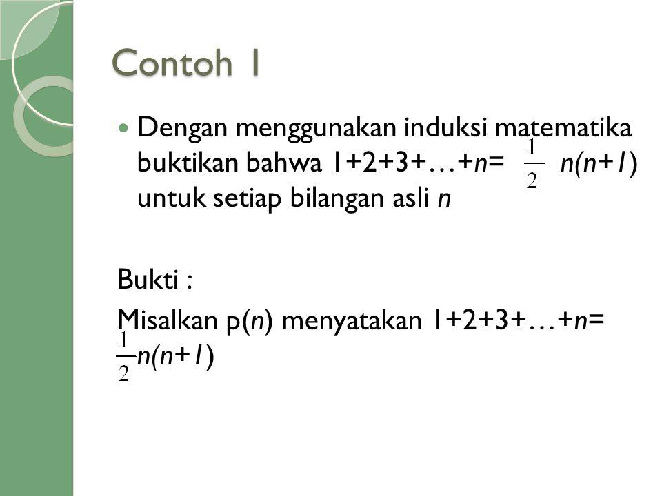 Contoh 1 Dengan menggunakan induksi matematika buktikan bahwa 1+2+3+…+n= n(n+1) untuk setiap bilangan asli n.