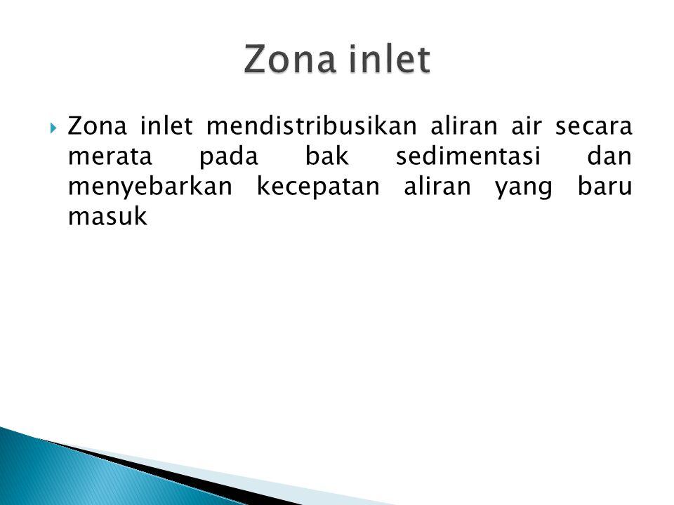 Zona inlet Zona inlet mendistribusikan aliran air secara merata pada bak sedimentasi dan menyebarkan kecepatan aliran yang baru masuk.