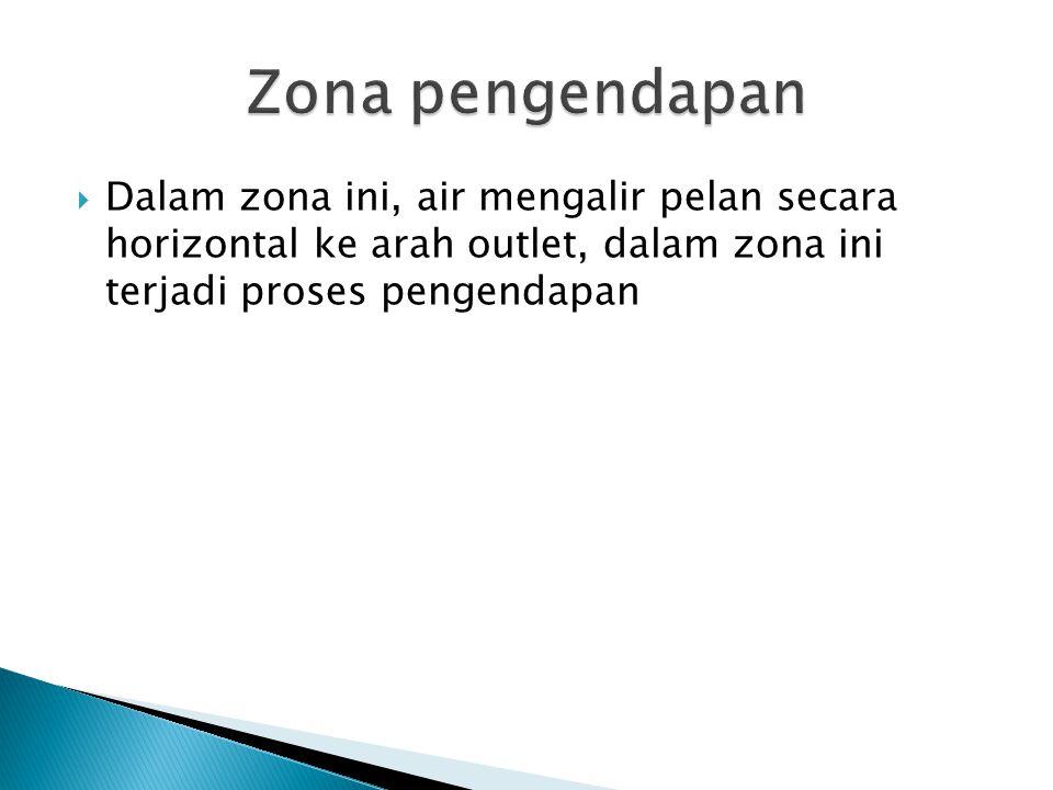 Zona pengendapan Dalam zona ini, air mengalir pelan secara horizontal ke arah outlet, dalam zona ini terjadi proses pengendapan.
