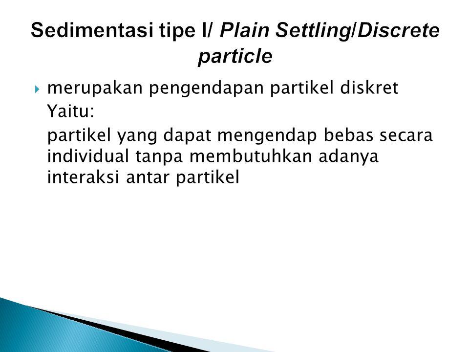 Sedimentasi tipe I/ Plain Settling/Discrete particle