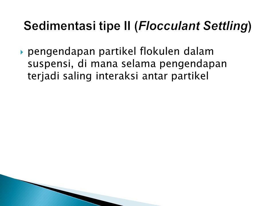 Sedimentasi tipe II (Flocculant Settling)