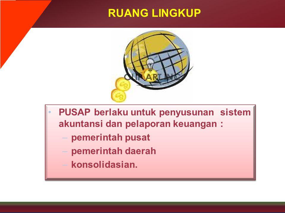 RUANG LINGKUP PUSAP berlaku untuk penyusunan sistem akuntansi dan pelaporan keuangan : pemerintah pusat.