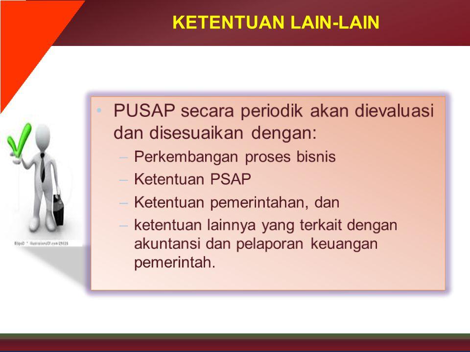 PUSAP secara periodik akan dievaluasi dan disesuaikan dengan:
