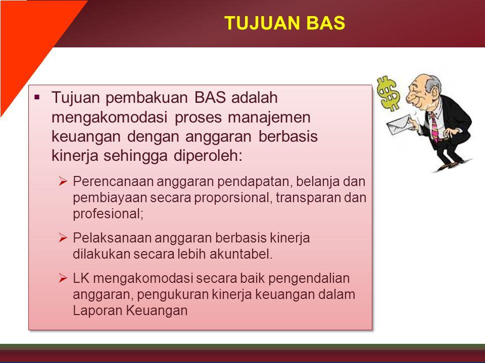 TUJUAN BAS Tujuan pembakuan BAS adalah mengakomodasi proses manajemen keuangan dengan anggaran berbasis kinerja sehingga diperoleh: