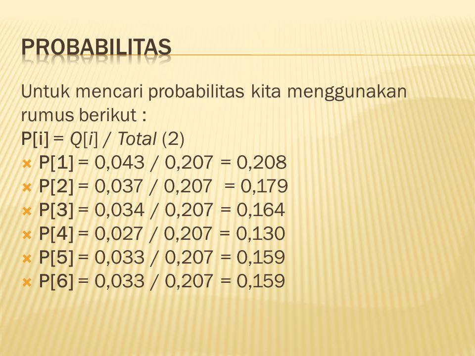 Probabilitas Untuk mencari probabilitas kita menggunakan