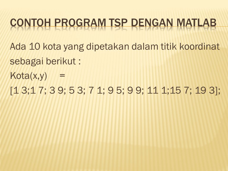 Contoh program tsp dengan matlab