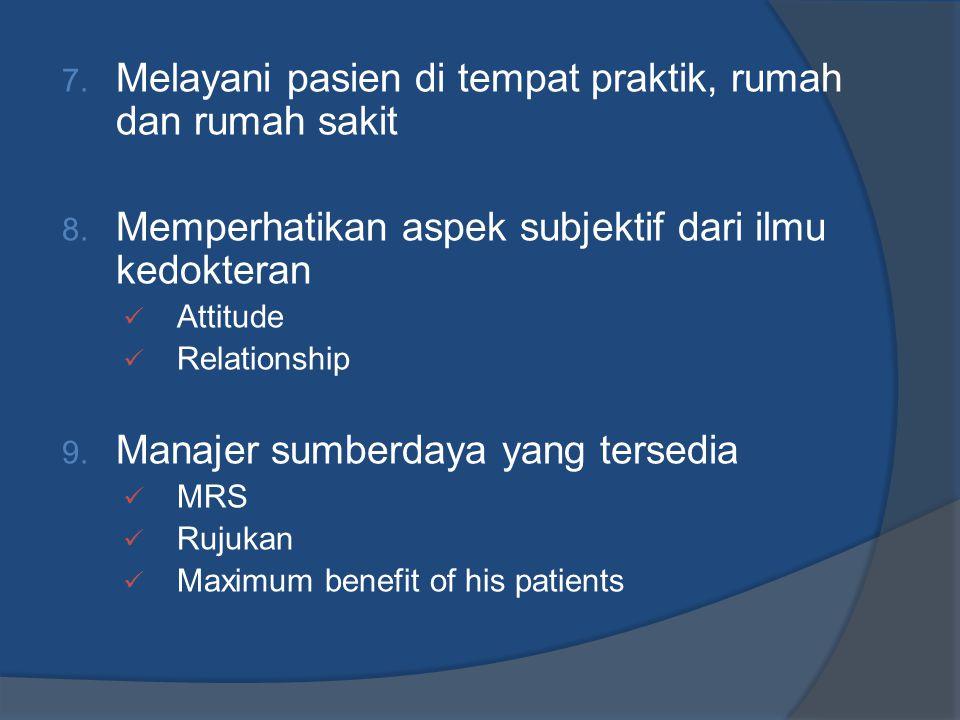 Melayani pasien di tempat praktik, rumah dan rumah sakit