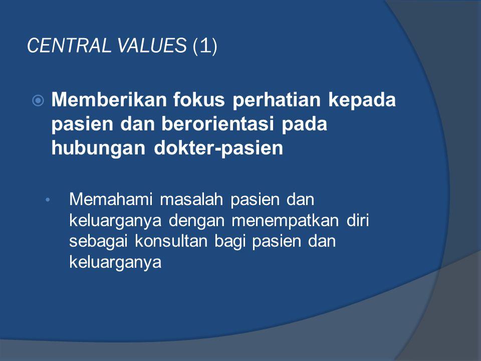 CENTRAL VALUES (1) Memberikan fokus perhatian kepada pasien dan berorientasi pada hubungan dokter-pasien.